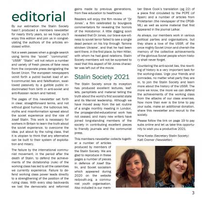 Stalin Society magazine issue 01 editorial